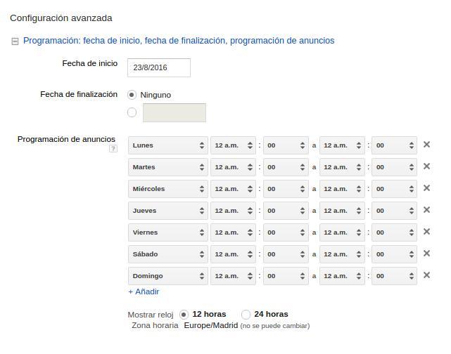 segmentar horarios adwords