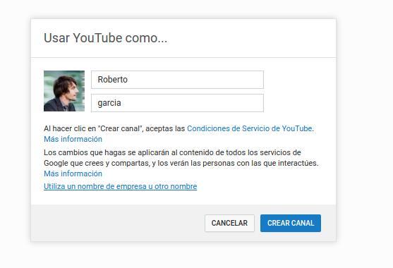 Seleccionar canal empresa Youtube