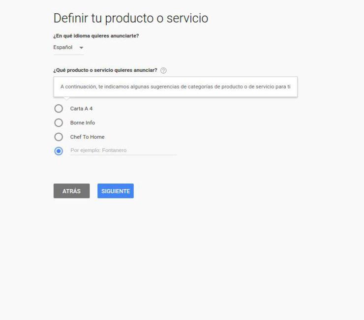 Definir productos y servicios en Adwords Express