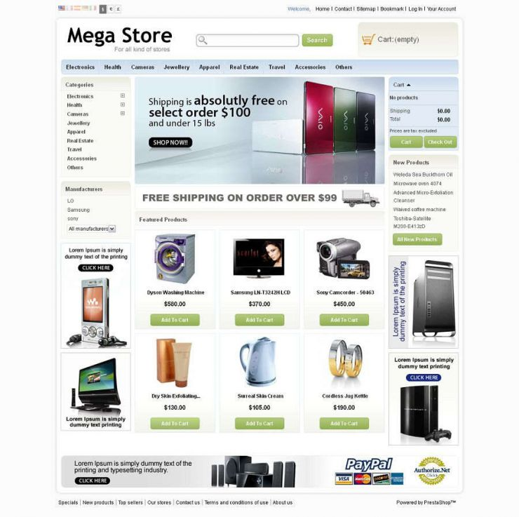 Prestashop tamplate tienda online