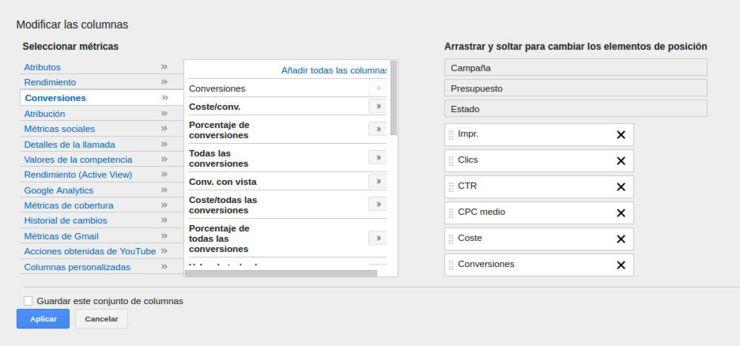 personalizar columnas adwords