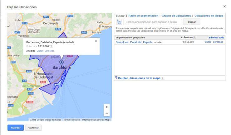 segmentar geograficamente adwords