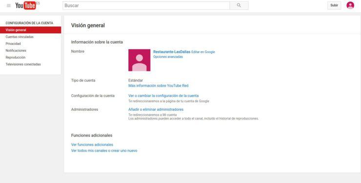 Configuración cuenta Youtube