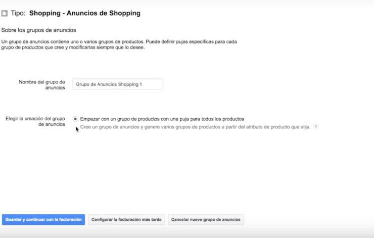 Grupos anuncios Shopping