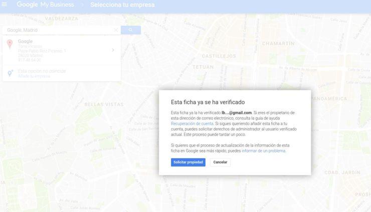 Ficha reclamada en Google Mybusiness