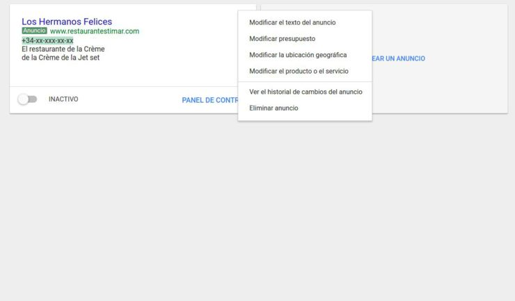 Rueda dentada adwords