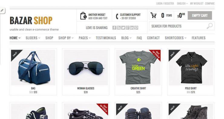 woo commerce template tienda online